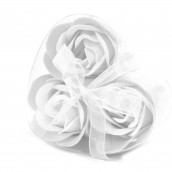 3 Soap Flowers in Heart Shaped Box - White Roses