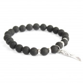 3 x Gemstone Bracelets - Angel Wing/Black Agate