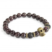 3 x Gemstone Bracelets - Bronze Skull/Blood Stone