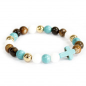 3 x Gemstone Bracelets - Turquoise Cross/Royal Beads