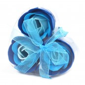 3 Soap Flowers in Heart Shaped Box - Blue Wedding Roses