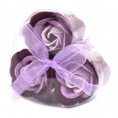 3 Soap Flowers in Heart Shaped Box - Lavender Roses