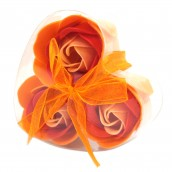 3 Soap Flowers in Heart Shaped Box - Peach Roses