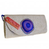 Blue Silk & Natural Jute Handbag