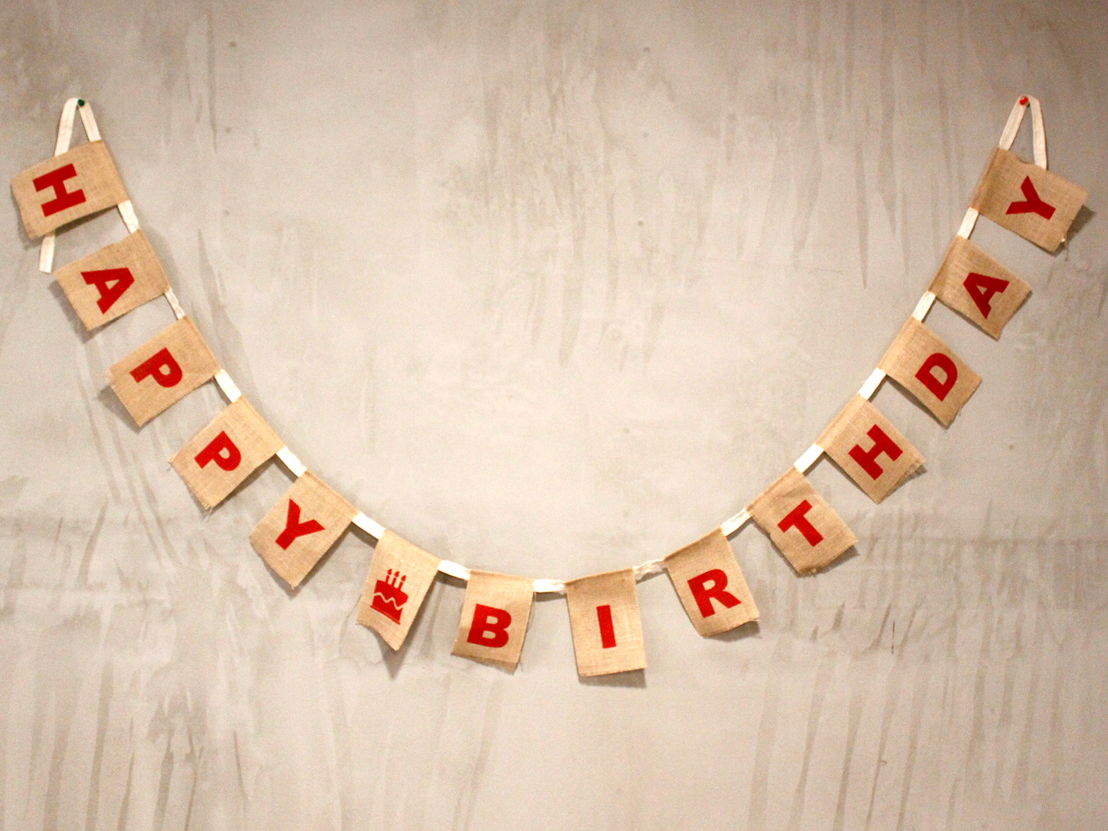 Natural Bunting - Happy Birthday x 2 (Large)