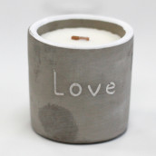 Concrete Wooden Candle - Med Pot - Love - Purple Fig & Cassis