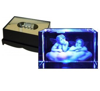 Angels Crystal Laser Block & Coloured LED Display Stand