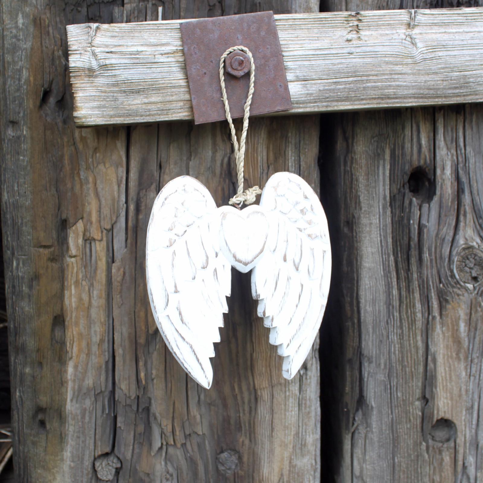 Hand Crafted Double Angel Wing & Heart - 15cm