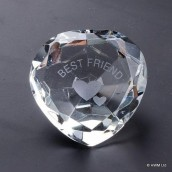 """Best Friend"" Clear Crystal Heart"