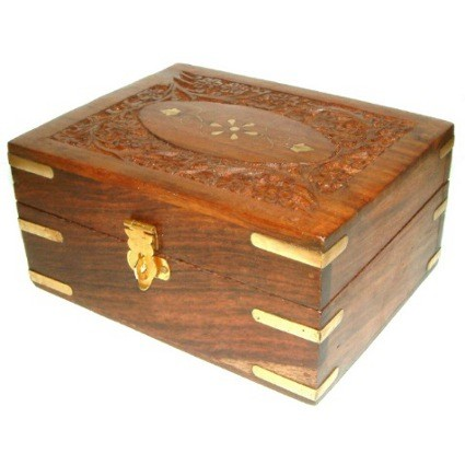 Carved Wooden Aromatherapy Box - 140 x 120 mm