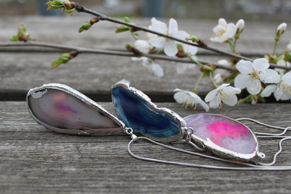Silver Plated Agate Pendants