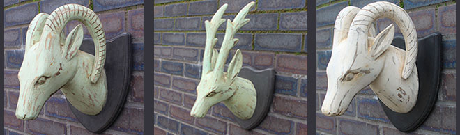 Wooden Carved Deer Heads
