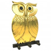 Wooden Coat Hanger - Owl Gold