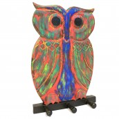 Wooden Coat Hanger - Owl Multicolour