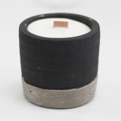 Concrete Wooden Candle - Pot - Black - Brandy Butter