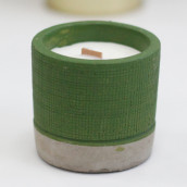 Concrete Wooden Candle - Pot - Green - Sea Moss & Herbs