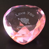 """I Love You Daughter"" & Heart Pink Crystal Heart"