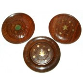3 x 100mm Diameter Sesham Wood Disc Cone & Incense Holders