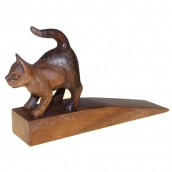 Handcarved Wooden Door Stop - Cat