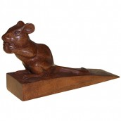 Handcarved Wooden Door Stop - Dormouse