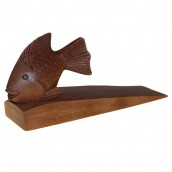 Handcarved Wooden Door Stop - Fish
