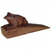 Handcarved Wooden Door Stop - Frog