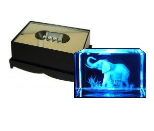 Elephant Crystal Laser Block & Coloured LED Display Stand