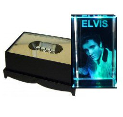 Elvis Presley Crystal Laser Block & Coloured LED Display Stand
