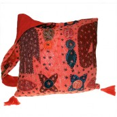 Ethnic Bag - Elephant Patch - Red