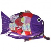 Recycled Handmade Fish Bag - Lilac