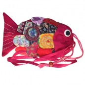 Recycled Handmade Fish Bag - Pink