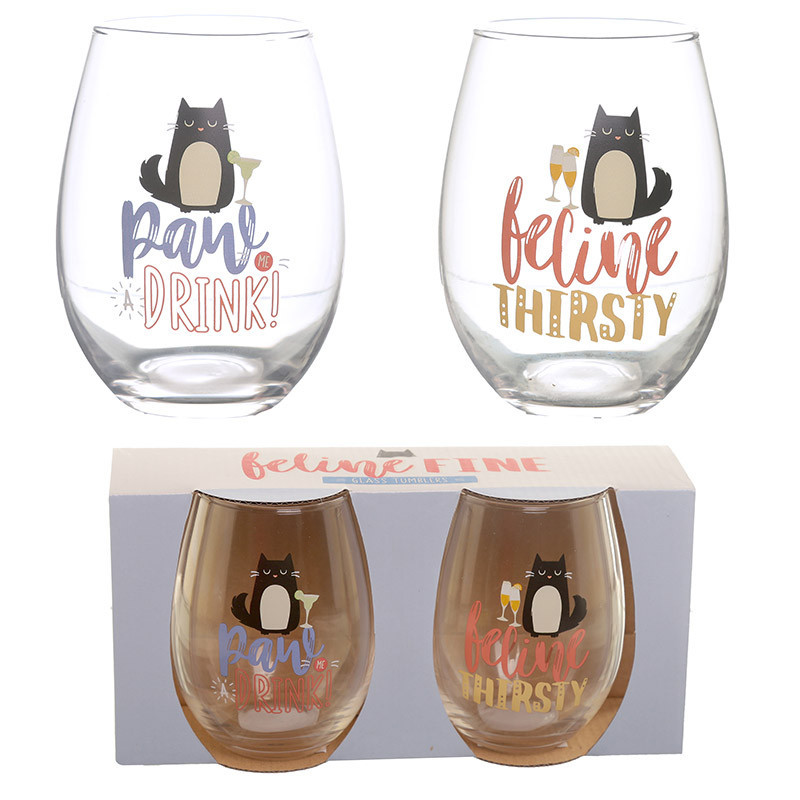 Set of 2 Glass Tumblers - Feline Fine Cat Decal