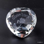 """Good Luck"" Clear Crystal Heart"