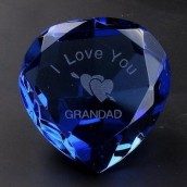 """I Love You Grandad"" & Rose Blue Crystal Heart"