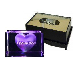 """I Love You"" Crystal Laser Block & Coloured LED Display Stand"