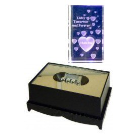 Heart Crystal Laser Block & Coloured LED Display Stand