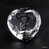 """I Love You Dad"" & Rose Clear Crystal Heart"
