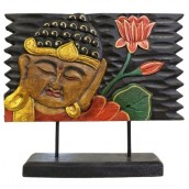 Carved Golden Buddha - Large Stand