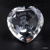 """I Love You Mum"" & Rose Clear Crystal Heart"