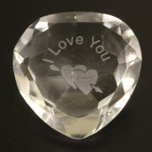 """I Love You"" & Heart Clear Crystal Heart"