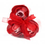 3 Soap Flowers in Heart Shaped Box - Red Roses