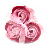 3 Soap Flowers in Heart Shaped Box - Pink Roses