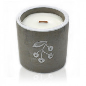 Concrete Wooden Candle - Med Pot - Berries - Juniper & Sweet Gin