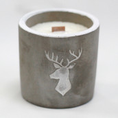 Concrete Wooden Candle - Med Pot - Stag - Whiskey & Woodsmoke