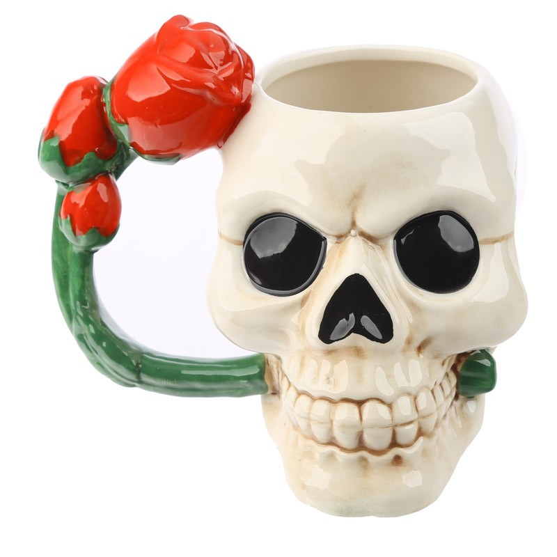 Ceramic Skull Shaped Mug with Red Rose