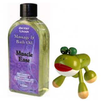 Muscle Ease Massage Oil & Wooden Massager