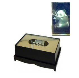 Panda Crystal Laser Block & Coloured LED Display Stand