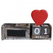 Day to Remember Pen Holder - Natural & Red Heart