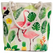 Rope Handle Bag - Flamingos & More