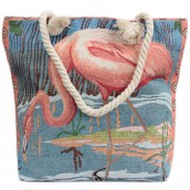 Rope Handle Bag - Pink Flamingos